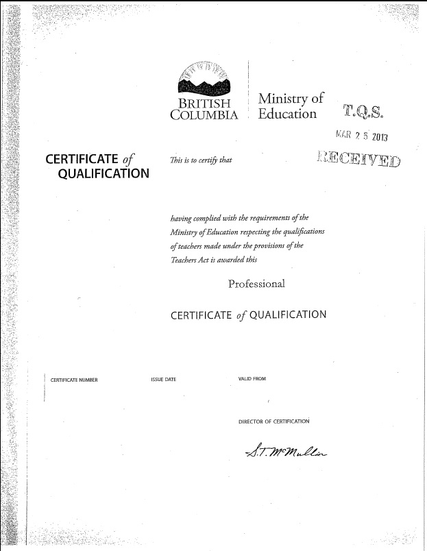 Tqsbc Glossary British Columbia Teaching Certificate